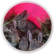 Bunnies In Pink Round Beach Towel