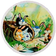Bunnies Log And Frog Round Beach Towel