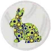 Bunny - Animal Art Round Beach Towel by Anastasiya Malakhova