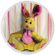 Bunny With Pink Ears Round Beach Towel