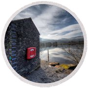 Buoy At Lake Round Beach Towel by Adrian Evans