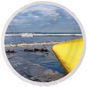 Buoy At Low Tide Round Beach Towel