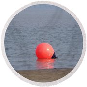 Buoy In The Water Round Beach Towel