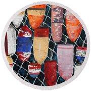 Buoy Nautical Vintage Art Round Beach Towel
