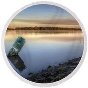 Buoy On The Bank Round Beach Towel