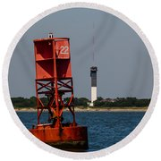 Buoy To Lighthouse Round Beach Towel