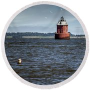 Buoy What A Lighthouse Round Beach Towel