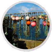 Buoys And Pots In Sennen Cove Round Beach Towel