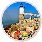 Buoys At The Headlight Round Beach Towel