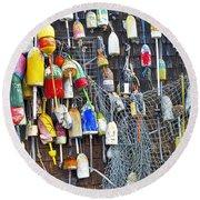 Buoys On Wall - Cape Neddick - Maine Round Beach Towel