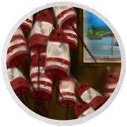 Buoys With A View      Round Beach Towel