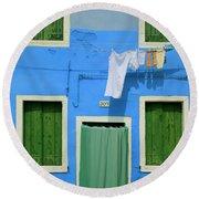 Burano Blue And Green Round Beach Towel