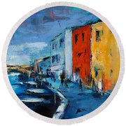 Burano Canal - Venice Round Beach Towel