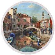 Burano Canal Venice Round Beach Towel