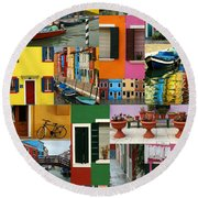 Burano Italy Collage Round Beach Towel