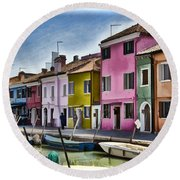Burano Italy - Colorful Homes Round Beach Towel