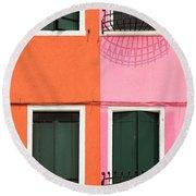 Burano Pink And Orange Round Beach Towel