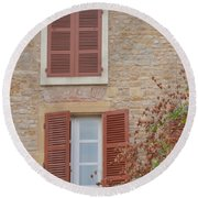 Rust Coloured Shutters Round Beach Towel