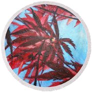 Burgundy Beauty Round Beach Towel