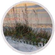 Buried Fence And Sea Oats Sunrise Round Beach Towel