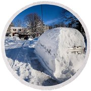 Buried In Snow Round Beach Towel