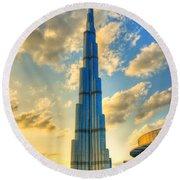 Burj Khalifa Round Beach Towel by Syed Aqueel