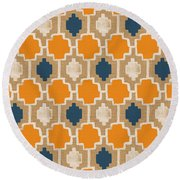 Burlap Blue And Orange Design Round Beach Towel