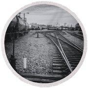 Burlington Vermont Train Yard Vintage Grunge Black And White Round Beach Towel