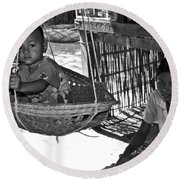 Burmese Mother And Son Round Beach Towel by RicardMN Photography