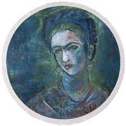 Burn It Blue Frida Round Beach Towel