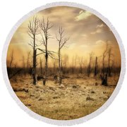 Burned Out Forest Round Beach Towel