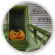 Burned Out - Halloween Round Beach Towel