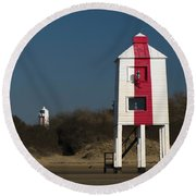 Burnham-on-sea Lighthouses Round Beach Towel