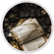 Burning Books Round Beach Towel