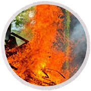 Burning Brush Round Beach Towel