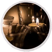 Burning Candles Round Beach Towel