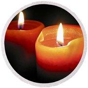Burning Candles Round Beach Towel