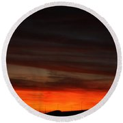 Burning Night Time Sky Round Beach Towel by John Telfer