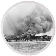 Burning Of The Breakers Hotel Round Beach Towel
