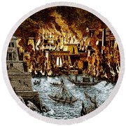 Burning Of The Royal Library Round Beach Towel