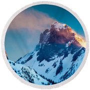 Burning Peak Round Beach Towel