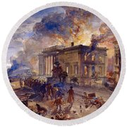 Burning Temple Of The Winds, 1856 Round Beach Towel