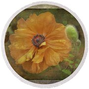 Burnished Poppy Round Beach Towel