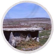 Burren Wedge Tomb Round Beach Towel