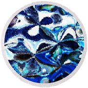Bursts Of Blue And White - Abstract Art Round Beach Towel by Carol Groenen