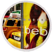 Bus Poster With Taxis - New York Round Beach Towel