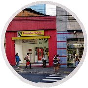 Bus Stop On Rua Teodoro Sampaio Round Beach Towel