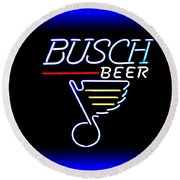 Busch And The Blues Edited Round Beach Towel