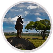 Bushbuck Guard Of The Mound   Round Beach Towel