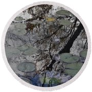 Lilies In The Pond Round Beach Towel